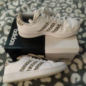 Size 6 Adidas with black cheetah print